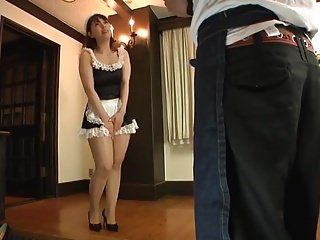 Pantyhose maid surrounding dildo