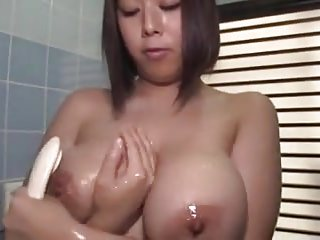Erotic busty & big nuisance japanese girl taking a shower