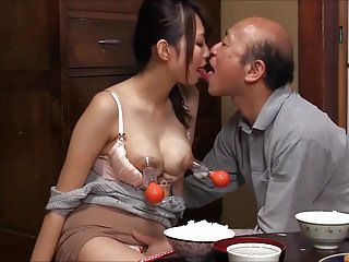 Rather naked women massaged by old man
