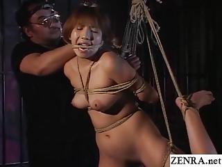 Traditional JAV shibari cable binding with naked schoolgirl