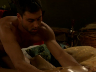 Muscular guy anal banging dude on a massage table