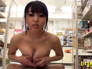 Tantalizing asian wench gets her big mambos and cunt played