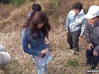 Japanese farmer girl, Maki Hojo had group making love outdoors, unce
