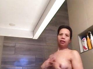 Jenny Carter starting a shower