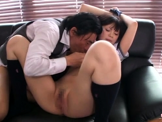 Asian schoolgirl likes to tick rods and to get shoved