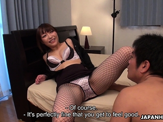 Japanese Yui Ayana is gently sniffing dick uncensored