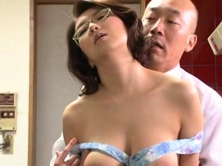 Japanese honey gets her large tits out and drilled