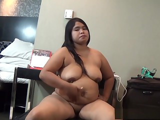 Fat chick is making an full-grown video