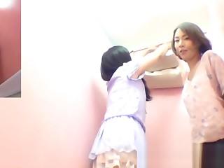 Kinky Asian cuties horseplay peeing in public toilet