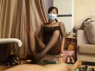 chinese teacher stocking footjob