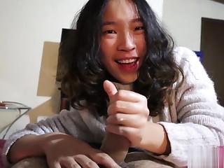 Hot Chinese boyfriend gives an oiled handjob POV
