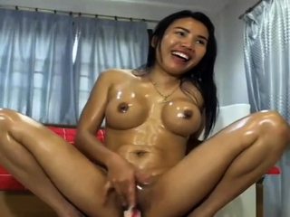 Asian Masturbating Dildo Oil Selfish Convention