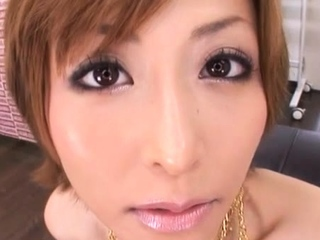 Adorable oriental Akari Asahina finds a broad in the beam penis