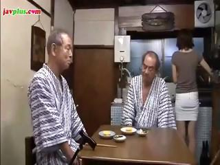 Young Asian daughter serves cur' and his collaborate then gives him a tidy